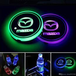 2pcs LED Car Cup Holder Lights, 7 Colors Changing USB Charging Mat Luminescent Cup Pad, LED Interior Atmosphere Lamp for Mazda on Sale
