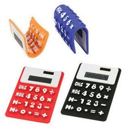 Ingrosso Mini Calculator pieghevole calcolatore solare del silicone energia creativa Student Card magnetica Calculadora Ufficio Scolastico strumento VT0210
