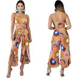69a7a7b90d Women Paisley Print Two Piece Outfits African Ethnic Stretchy Multi  Strapless Tube Crop Top Split Capri Pant Set Summer Clothes Pantsuits