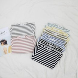 $enCountryForm.capitalKeyWord NZ - Baby Girls T-shirt Striped Knitted Rib Cotton Children Clothes Baby Girls T-shirts Toddler Spring Costumes Casual Tee Blouse