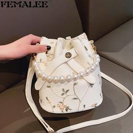 Ladies Bucket Handbags Australia - FEMALEE Luxury Designer Bucket Lace Handbags Elegant Crossbody Pearl Handle Women Shoulder Bags Lady Flower 2019 Crossbody Bags