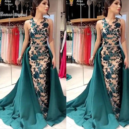 Wholesale Desginer Jewel Neckline Mermaid with Oveskirts Prom Dresses High End Quality Party Dress Sleeveless In Hot Sales