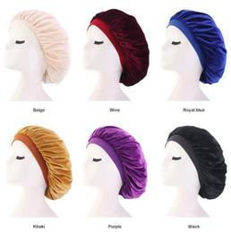 $enCountryForm.capitalKeyWord Australia - Long Hair Care Women Fashion Velvet Bonnet Cap Night Sleep Hat Silk Cap Head Wrap Sleep Hat Hair Loss Caps Accessories