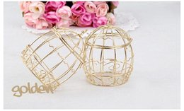 Wholesale 2019 Wedding Favor Box European creative Gold Matel Boxes romantic wrought iron birdcage wedding candy box tin box Wedding Favors