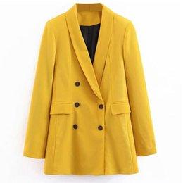 $enCountryForm.capitalKeyWord Australia - 2019 Women Double Breasted Long Blazers Office Lady Small Suit Jacket Ladies Leisure Yellow Blazer Loose Coat Streetwear J190616