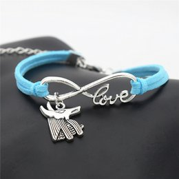 Leather Horse Jewelry NZ - Hot Silver Infinity Love Egypt Patron Saint Horse Anubis Animal Wolf Bull Head Jewelry Weave Blue leather rope bracelet Bangle For Man Woman