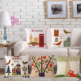 London coat online shopping - Small Fresh Cartoon London Cotton Flax Pillow Back Cushion Cushion Loose Coat Can Customized