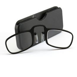 Wholesale 10pcs lot Nose Clip Magnetic Reading Glasses Women Men Mini SOS Glasses Wallet Reader With Case Presbyopic Eyeglasses+1.0 - +2.5