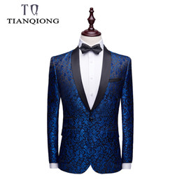 Wholesale mens floral blazers for sale - Group buy Blazer Men Brand Mens Shawl Collar Black Mens Floral Blazer Slim Fit Casual Suit Jacket Prom Party Blazers Man Coat