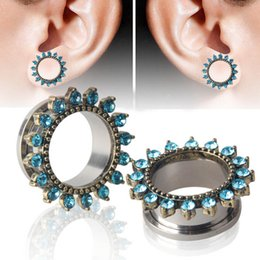 Discount flower tunnels - 1 Pair! Stainless Flower Ear Gauges Plugs Tunnels Screw Fit Expansion Ear Stretched Piercing Fesh Tunnels Body Jewelry