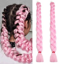 pink kanekalon braiding hair Australia - Jumbo Braiding Hair Extension 100% Kanekalon Synthetic High Temperature Braiding 24inch Long Crochet Jumbo Braids Hair Extensions(Pink)