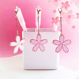 $enCountryForm.capitalKeyWord Australia - 0.5mm Flower Pendant Gel Pen Pink Girl Heart Pendant Pen Student Stationery Kawaii School Supplies Christmas Gel-Ink