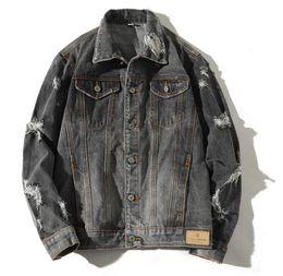 $enCountryForm.capitalKeyWord Australia - High quality 2019 Fashion Stylist Parkour street snap Style men's Turn-down Collar broken hole Cowboy jacket Hip hop outerwear