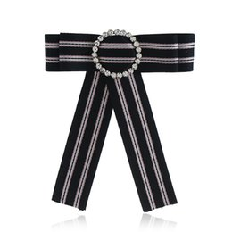Fashion Crystal Tie Australia - New Woman Brooches Pin stripe Small Bowknot Round Rhinestones Shirts Corsage Collar Bow Tie Crystal Fashion Jewelry Gifts