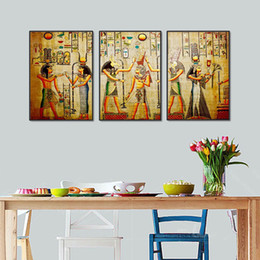 Egyptian Figures Australia - Egypt Wall Art Canvas Poster Vintage Style Old Antique Poster Prints Retro Egyptian Picture Home Wall Decoration Canvas Art Print 3pcs No fr