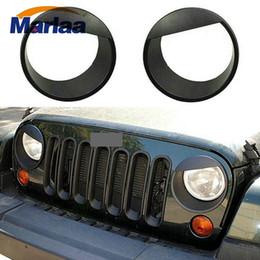 $enCountryForm.capitalKeyWord Australia - Angry Eyes Black Bezels Front Light Headlight Trim Cover ABS For Jeep Wrangler Accessories Rubicon Sahara JK 2007-2017