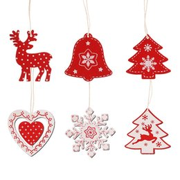 gold pedant Canada - 10pcs Wooden Christmas Ornaments Red White Deer Snowflake Heart Christmas Tree Pedants Decorations for Home 2020