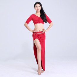 dancing shorts women UK - Belly Dance Costume Short Sleeve Top Long Skirts Oriental Dancing Costumes Women Training Clothes Adult Bellydance Wear DNV10763