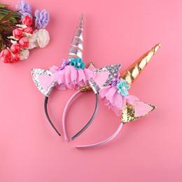 d5644fd1ec1 1 PC Rainbow Unicorn Horn Hairband For Kids Decorative Magical Unicorn Horn  Head Party Hair Headband Fancy Dress Cosplay