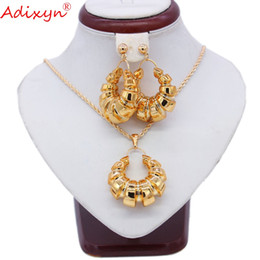 Wholesale African Dubai Rose Gold Color Unique Jewelry Sets NecklaceEarringPendant For Women Girls Birthday Party Gift N102213 NZ2612