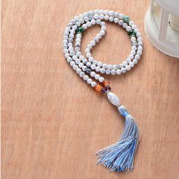 6mm Mala Beads Australia - Natural Unique 6mm Howlite Onyx with Colorful Tassel Mala Necklace Chic 108 Beads Necklace Women Yoga Necklace