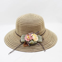 $enCountryForm.capitalKeyWord UK - 2019 New Summer Female Sun Hat Beach Hats for Women Strip Flower Floppy Straw Hat