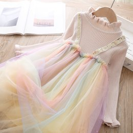 rainbow tutu wholesale Australia - Girls dresses kids knitted sweater splicing sequins rainbow lace tulle dress children ruffle collar falbala sleeve princess dress F10325