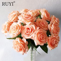 $enCountryForm.capitalKeyWord Australia - Decorations Artificial Dried Flowers NEW 1pcs Real Touch rose PU Artificial silk wedding bouquet Flowers , Home decorations for Wedding P...