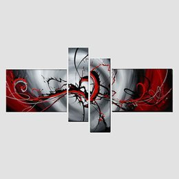 $enCountryForm.capitalKeyWord Canada - 100%hand-painted abstract oil painting wall art The Red passion on canvas 4pcs set wall art for live room decor (no frame), CX401