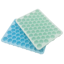 wholesale silicone trays NZ - big size new arrival 60 cavities Flexible Bee Honeycomb Silicone Ice Cube Mold with lid silicone ice cube tray