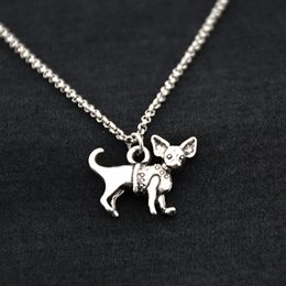 Vintage brass animals online shopping - Retro Vintage Chihuahua Dog Pet Pendant Necklace Funny Animal Stainless Steel Chain Necklace For Women Men Accessories jewelery Collares