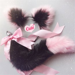 702954c6691 Cute Soft Cat ears Headbands with Fox Tail Bow Metal Butt Anal Plug Erotic  Cosplay Accessories Adult Sex Toys for Couples C18112301