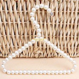 $enCountryForm.capitalKeyWord Australia - 100pcs 20cm Plastic Pearl Beaded Clothes Dress Coat Hangers Wedding For Pet Kid Children Save-Space Storage Organizer