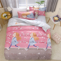 black white silver comforter sets 2019 - Spring 4pcs Girl Boy Kid Bed Cover Set Duvet Cover Adult Child Bed Sheets And Pillowcases Comforter Bedding Set 2TJ-6102