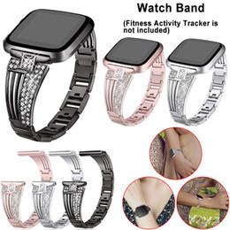 Replacement Bracelet Watch Bands Australia - Women Bling Rhinestone Bracelet Stainless Steel Watch Band Wrist Strap For Fitbit Versa Smart Watch Replacement Metal wristband
