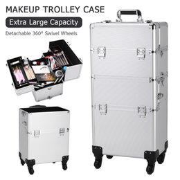 tattoo covers NZ - 360° Rotatable Trolley Tattoo Box 3 in 1 Aluminum Cosmetics Cosmetic Case Storage Box Beauty Box