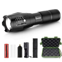flashlight lumen Australia - Free Shipping iBester LED Tactical Flashlight with Rechargeable Battery & Charger & Holster, High Lumen, Zoomable, 5 Modes, Water Resistant