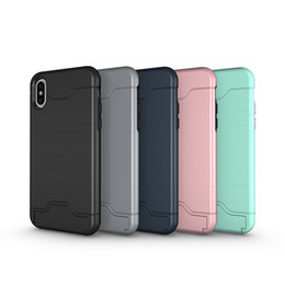 Iphone Credit Australia - Portefeuille For iPhone X Case Credit Card Holder Slot Wallet Cases Kickstand Back Cover For iPhone 8 Plus 7 10 6 6S cover
