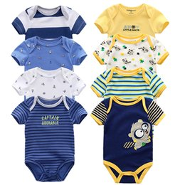 $enCountryForm.capitalKeyWord NZ - Baby Rompers 8pcs Short Sleeve Overalls New Born Baby Boy Clothes Infant Baby Girls Outfit Jumpsuit Roupas De Bebe Clothing J190514