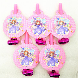 kids whistles Australia - 6pcs CartoonPrincess Blowout Party Supplies Noise Maker whistle Baby Shower kids Birthday Party Decoration Blowouts