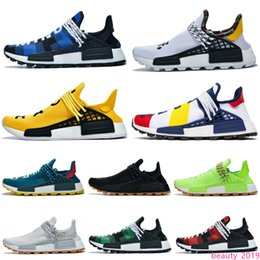 trail trainers UK - Discount NMD Human Race Hu Trail PW Running Shoes Pharrell Williams BBC Equality Cream Nerd Women Mens Trainers Sports Sneakers 36-47