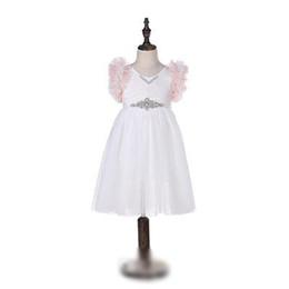 dcc03c20f Short Tulle Dress Rhinestones UK - Girls Lace Embroidery Dress kids Tiered  Ruffle Fly Sleeve Princess