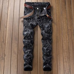 painting tights NZ - New printing trendy fashion personality colorful hand-painted graffiti men's denim trousers slim black tight designer jeans
