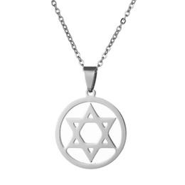 $enCountryForm.capitalKeyWord Australia - Jewish Magen Star of David Round Pendant Necklace for Men Stainless Steel Black Steel Color Hexagram Necklace Turkey Jewelry