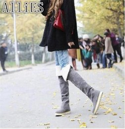 Boots Above Australia - AlliES New 2019 autumn-winter boots, women's casual comfortable cotton boots with a flat sole, women's boots above the knee A117