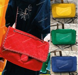 InterIor locks online shopping - 2019 Design Suede Genuine Leather XL Flap Bag Women s Travel Large Shopping Bag Chain Around Shoulder Flap Bag Crossbody Bags Red Colors