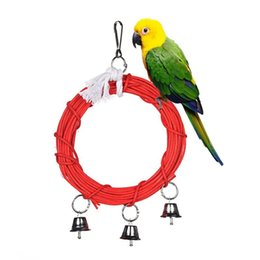 $enCountryForm.capitalKeyWord Australia - Bird Toys Wood Steel Ring Rope Red Swing With Bells Pet Supplies Toys for Parrot