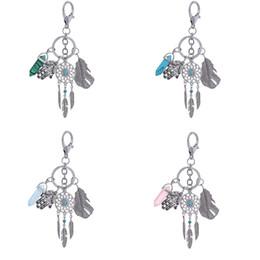 Dreams plush online shopping - Key Ring Chain Keychain Bohemian Retro Stone Dream Catcher Tassel Pendant Feather Palm Plush Decoration