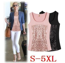ff1b222c92c33 Crazy2019 Pop Designer Ladies Plus Size Sequin Flex Knitting Silk Tank Tops  Solid Color Ladies Summer Paillette Qualify Tanks Top Sexy S-5XL