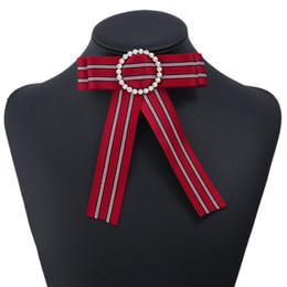 $enCountryForm.capitalKeyWord Australia - New Woman Brooches Pin stripe Small Bowknot Round Rhinestones Shirts Corsage Collar Bow Tie Crystal Fashion Jewelry Gifts